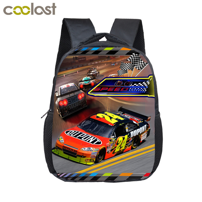12 inch Kids Racing Car Backpacks Adolescent Backpack Boys Girls School Bags Children Book Bag Kindergarten Mini Daily Backpack