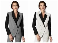 White/Gray Womens Waistcoat Suit Double Breasted Trouser Suit Wedding Proms Outfit Custom Size B321