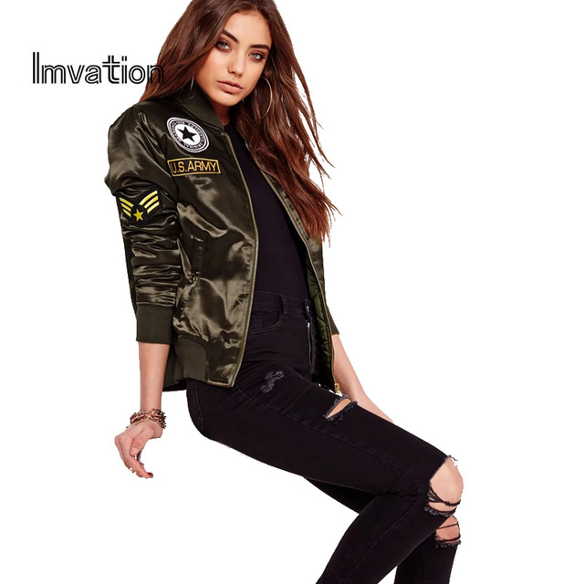 Imvation 2017 Autumn Winter Flight Army Green Bomber Jacket Women Jacket And Women's Coat Clothes Bomber Ladies Women Brand