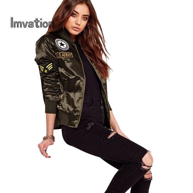 2f14a76de3f9f Imvation 2017 Autumn Winter Flight Army Green Bomber Jacket Women Jacket  And Women s Coat Clothes Bomber