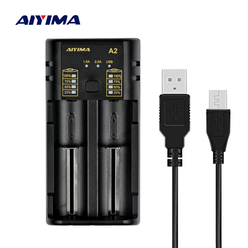 AIYIMA 18650 Battery Charger 3.7V AA/AAA 26650 NiMH li-ion Battery 5V 2A Smart Charger with USB Output Lithium Battery 3.6V xtar vc4 four slot usb lithium ion battery charger
