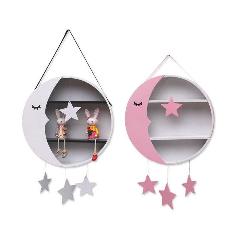 Décoration de chambre d'enfants accrocher lune étoiles supports de stockage mignon mur cintre en bois cadeaux d'anniversaire jouets Figurines affichage supports de stockage