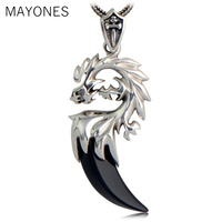 MAYONES 925 Sterling Silver Dragon Pendants For Men Inlaid Black Onyx Natural Stone Tooth Shaped Vintage Style