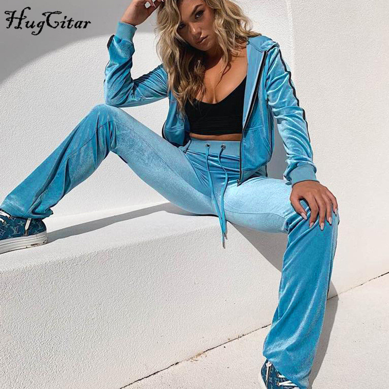 Hugcitar velvet coat pants 2 two pieces set2019 au