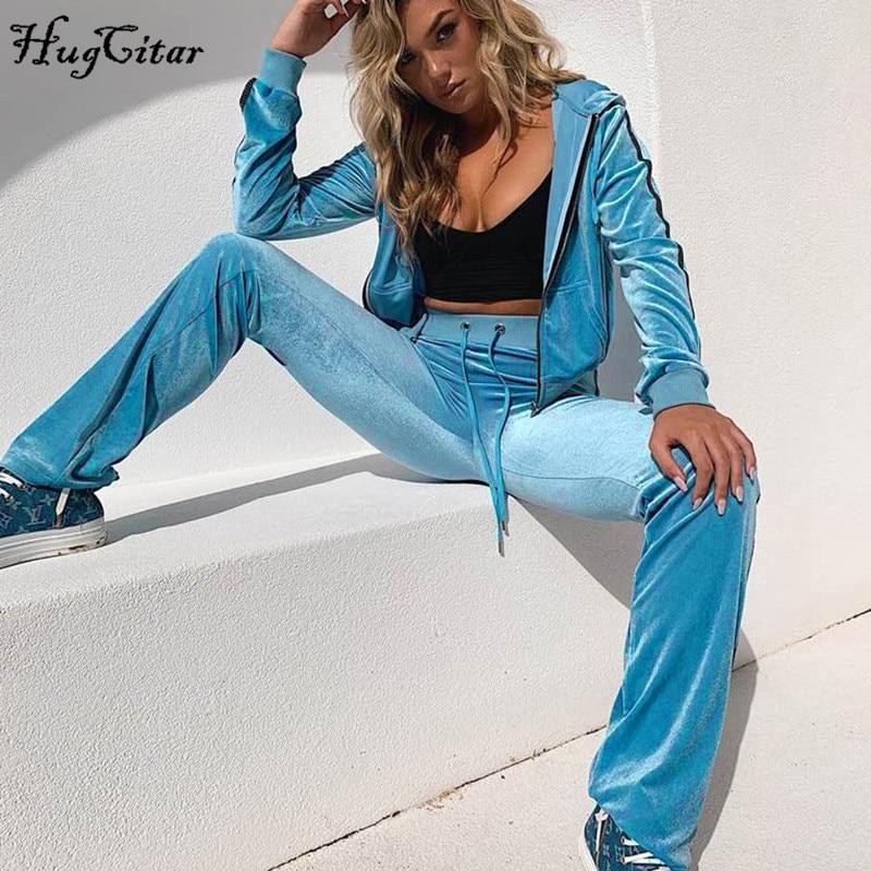 Hugcitar Velvet Coat Pants 2 Two Pieces Set2019 Autumn Women Hooded Tops Trouses Sets Streetwear Outfits