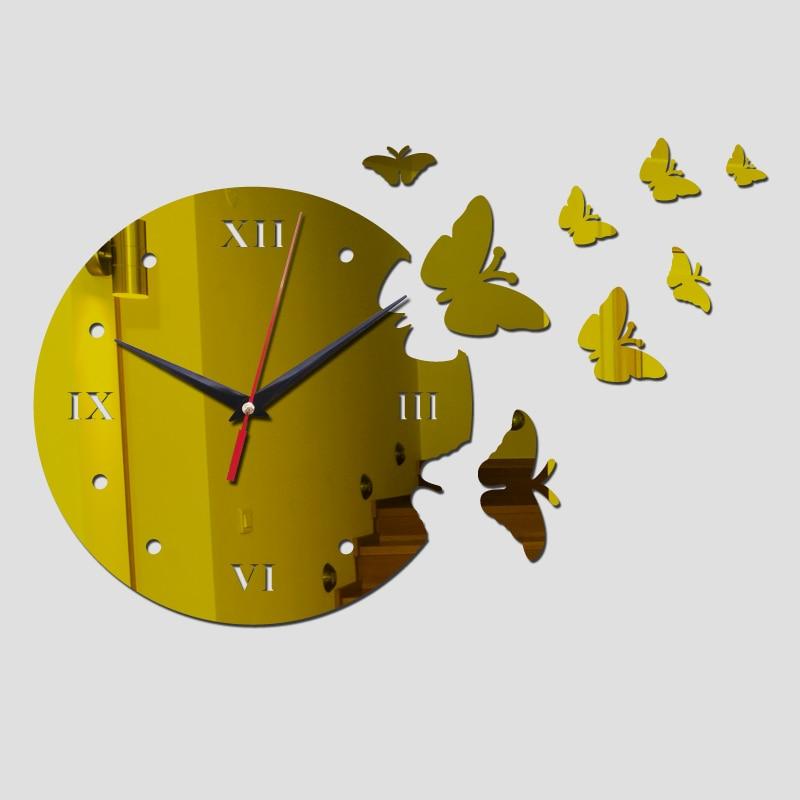 Acrylic Wall Clock Big Flower Design 3D Mirror Sticker Top Fashion Frame Clocks