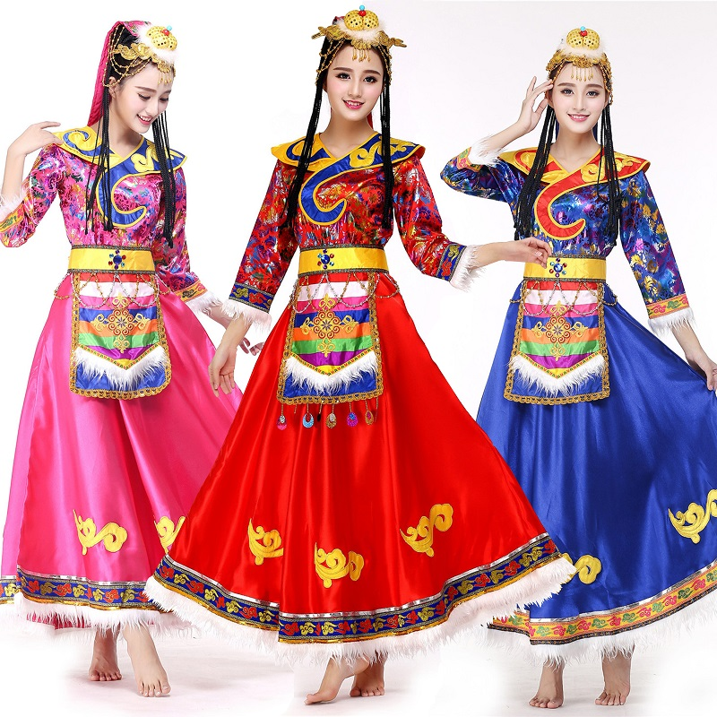New high-end long section of Tibetan dance costumes female minority adult Tibetan sleeves Slim performance clothing