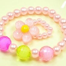 Bluelans Children Kids Colorful Handmade Beads Flower Necklace Bracelet Ring Jewelry Set