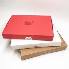 12 шт крафт-бумажные упаковочные коробки 20*15*2,5 см термопоты любовь-сердце свадебные подарочные коробки, натуральный шелковый шарф упаковочные коробки