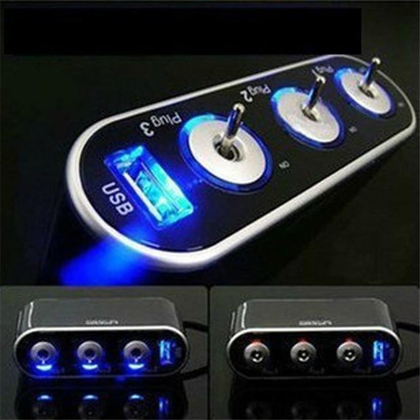 3 Way Triple Car Cigarette Lighter Socket Splitter 12V 24V USB LED Light Switch