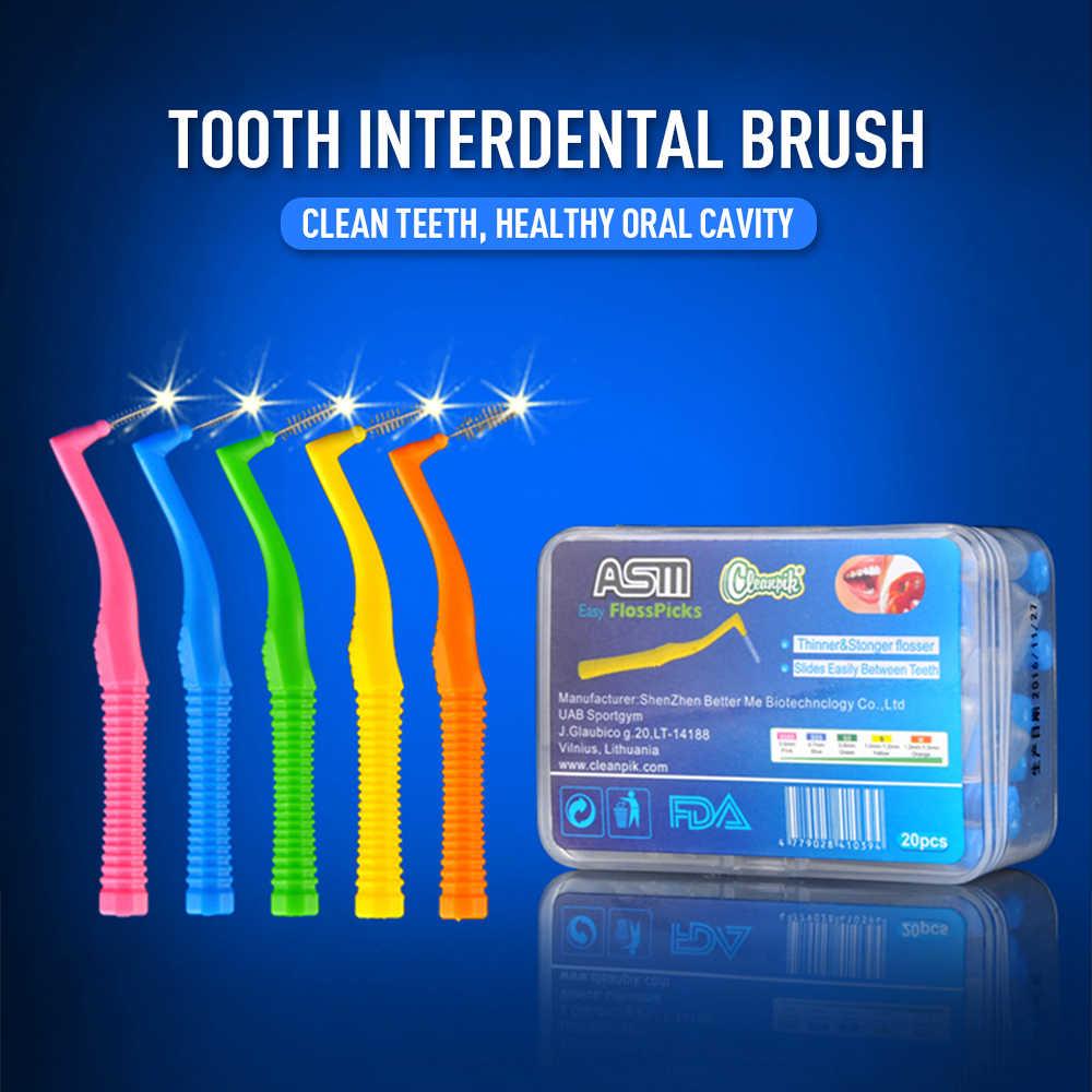 Szczoteczka międzyzębowa 20 sztuk w kształcie litery L Denta nici międzyzębowych czyszczenia ortodontyczne dental szczoteczka do zębów wykałaczka narzędzie do pielęgnacji jamy ustnej