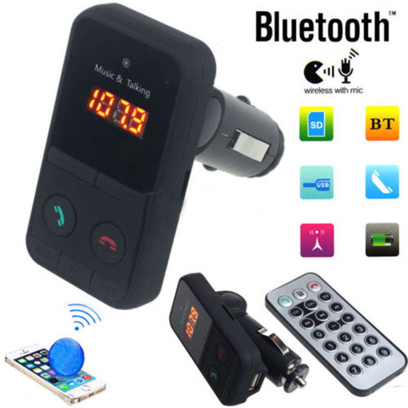 New Wireless Bluetooth LCD FM Transmitter Modulator USB Car MP3 Player SD Remote Controll Car Music Player Transmitter
