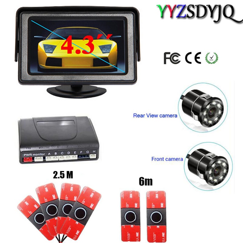 Auto Car parking 6 Sensor with 8IR Rear view camera Front camera Parktronic System Reverse radar Video 4.3inch hd mirror monitor