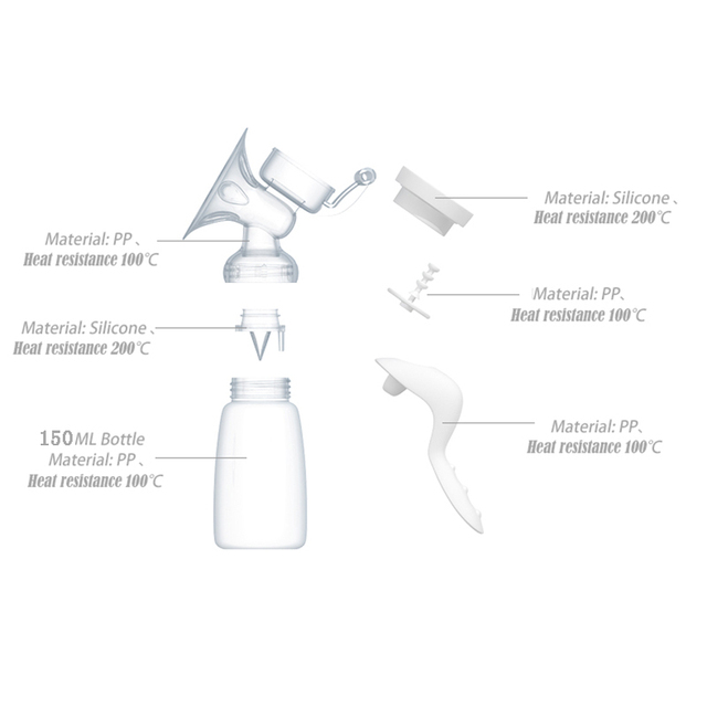 Manual Breast Pump Powerful Baby Nipple Suction 150ml  Feeding Milk Bottles Breasts Pumps Bottle Sucking T0099 2