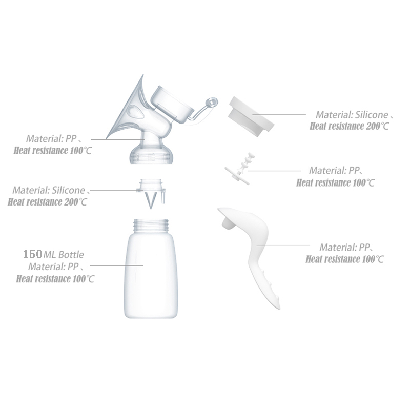 Manual Breast Pump for Powerful Suction with 150ml Feeding Milk Bottles suitable for Working Women 2