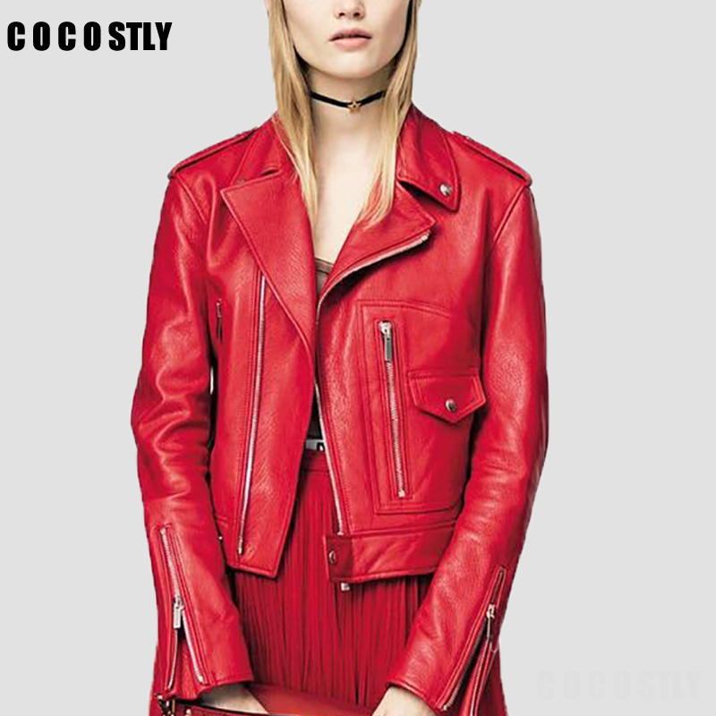 High Quality 2018 Autumn Jackets Women Leather Clothing Female Slim Zipper Leather Jacket Women Motorcycle Clothing Outerwear
