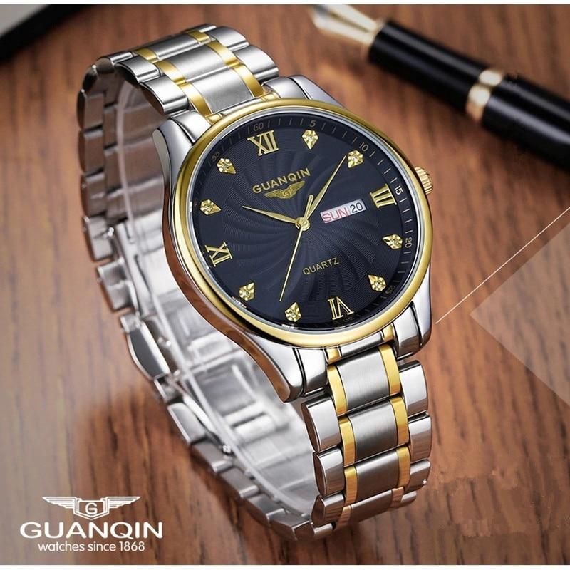 Luxury Men Watch Brand GUANQIN Quartz Watches Calendar Men Steel Fashion Clock Male Waterproof Watches Relogio Masculino цена 2017