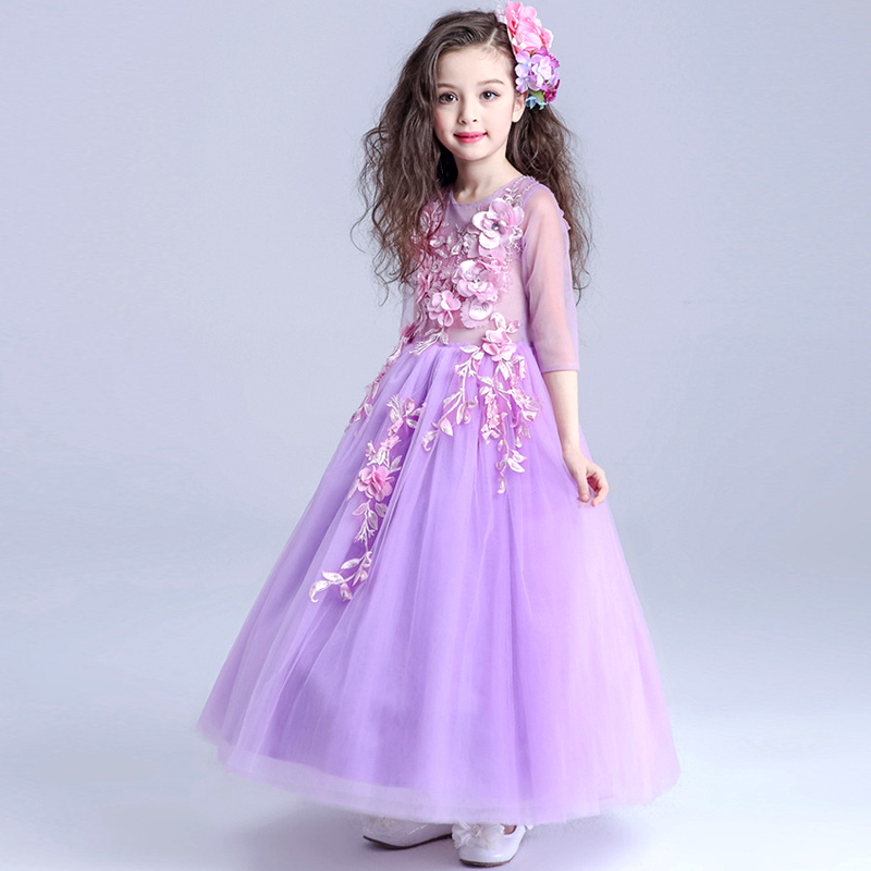 HOT Wedding Party Purple Formal Flowers Girl Dress Baby Pageant ...
