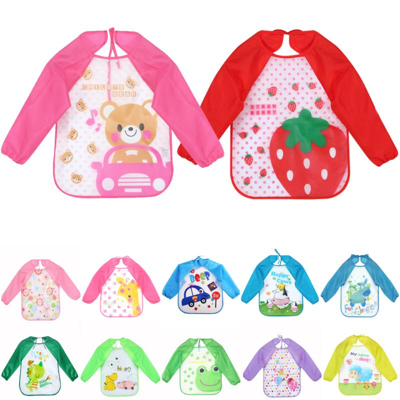 Baby Bibs Infant Burp Cloth Long Sleeve Waterproof Coverall Cute Cartoon Animals Baby Toddler Scarf Feeding Smock Feeding Apron цена