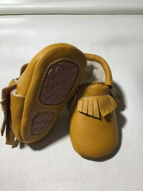 genuine cow leather with fur baby winter shoes boy tassel moccasins brown warm kid first walker rubber hard sole toddler Stylish