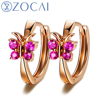 ZOCAI Brand BUTTERFLY FLOWERS Genuine 18K Rose Gold 0 18 Ct Ruby Hoop Earrings Sapphire Available
