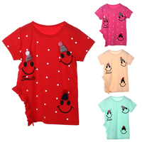 New Design Kids Children Girls Knitted Beanie Short Sleeve T Shirt Tops Clothes Causal Outfit Girl