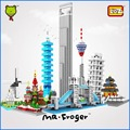 Mr.Froger LOZ City House Building Blocks Forge World Famous Architecture Tower Small particles ABS DIY Pixel Toy Bricks Gift