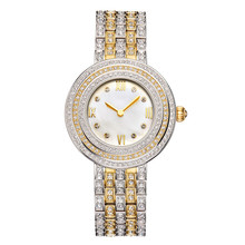 MATISSE Fashion Lady Full Crystal Dial Brass Strap Buiness Quartz Watch Wristwatch