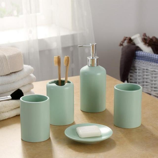 Green Five Piece Set Ceramic Bathroom Accessories Bottle Cups Soap