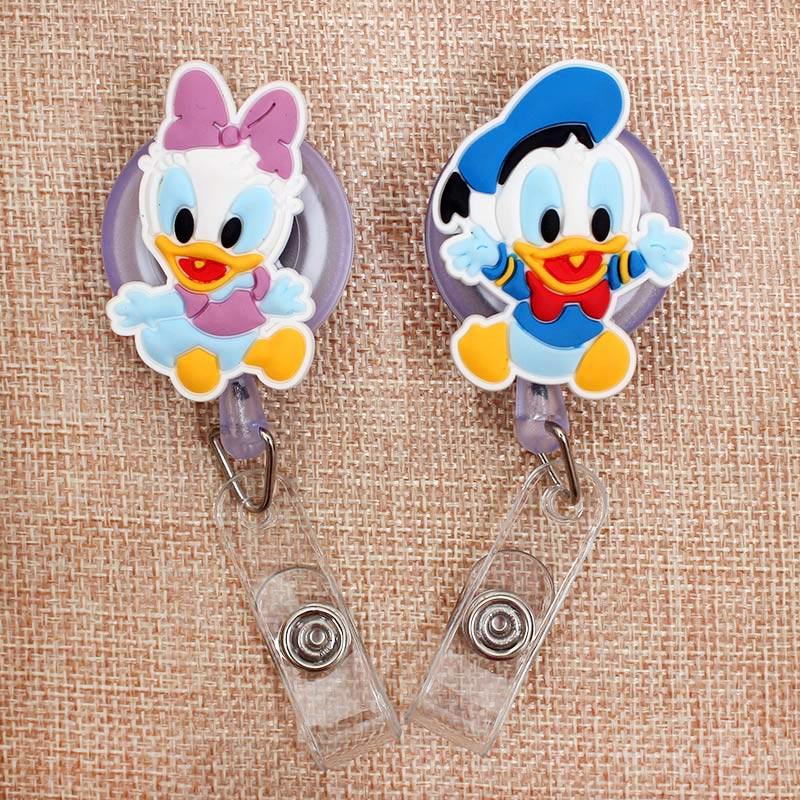 Creative Cartoon Ducks Retractable Badge Holder Reel Exhibition Enfermera Students Girls Name PU Card Hospital Office Chest Card