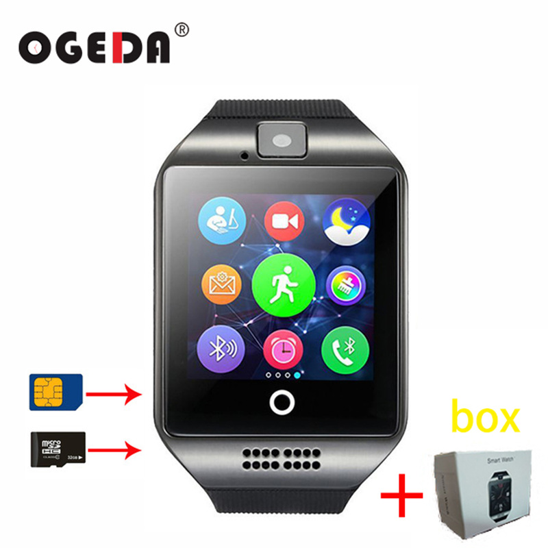 Smart Watch Q18 SIM SD-kort Telefonkamera MTK6261 Bluetooth-pekskärm Smartwatch för iOS Android Wear Watch för Men Clock