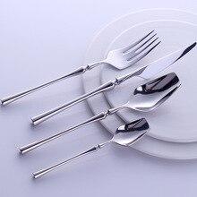 """מערבי נייד סכו""""ם סט נסיעות כלי שולחן 24pcs 304 נירוסטה ארוחת ערב סט עם יוקרה ידית סכין מזלג אוכל"""
