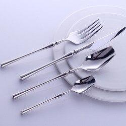 Juego de cubiertos portátiles occidentales, 24 Uds., vajilla de acero inoxidable 304 con tirador de lujo, cuchillo, tenedor, conjunto de Vajilla de cena