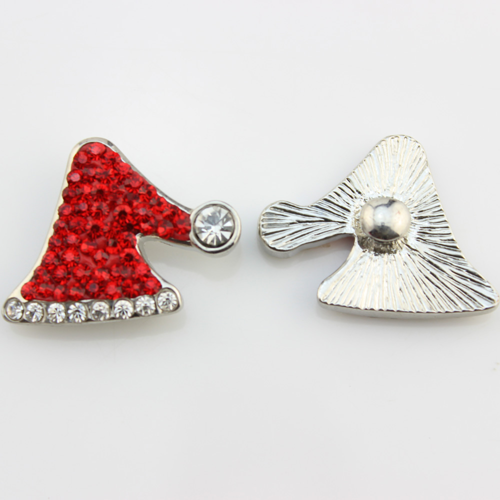 Fashion Silver 18mm white red rhinestone Christmas hats button snap jewelry fit 18-20mm snaps necklace pendant 12pcs/lot