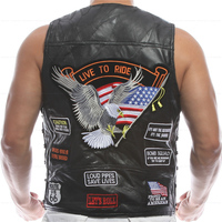 Vest Leather Men Embroidery Waistcoat Halley Motorcycle Riding Punk Hip Hop Sheep Skin Wind Proof