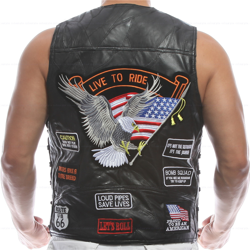 Vest Leather Men Embroidery Waistcoat Halley Motorcycle Riding Punk Hip hop Sheep skin Wind proof warmth retention Ventilation* ...