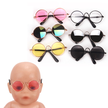 43 cm Baby dolls glasses New born fashionable round sunglasses with colorful lenses 6 colors fit American 18 inch Girl doll Q1 doll accessories heart shaped round glasses suit for blythe doll glasses for american girl dolls sunglasses