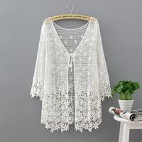 Lace Cardigan Women Kimono Cardigan Off White Shirt Boho Summer Top 2019 Korean Hollow Out Long Sleeve Blouse Blusa Feminina