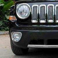 Fit For Jeep Patriot 2011 2012 2013 2014 2015 2016 2017 Front Fog Light Lamp Covers Trim ABS Chrome car accessories 2pcs