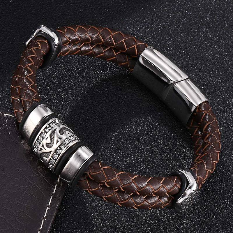 New Design Vintage Men Jewelry Brown Double Braided Leather Bracelet Men S.Steel Punk Leather Bangle Man Accessories Gift SP0377