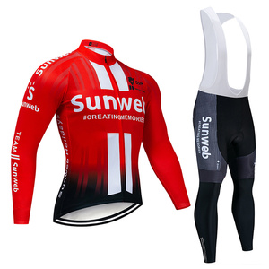 Image 2 - 2019 Pro Team SUNWEB Cycling Jersey 9D Bib Set MTB Uniform Bike Clothing Mens Winter Thermal Fleece Bicycle Clothes Cycling Wear