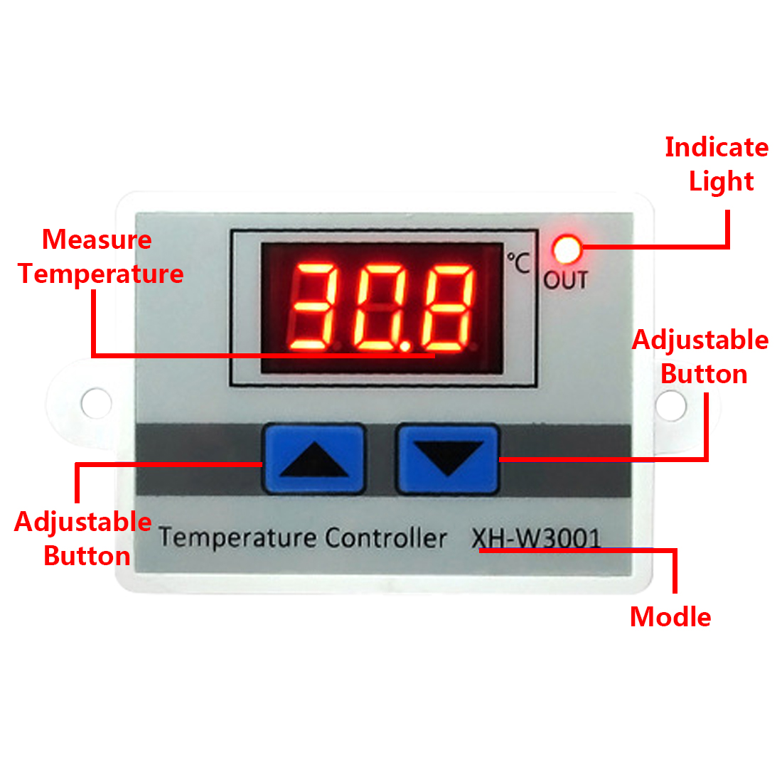 220V XH-W3001 Temperature Controller Digital LED Temperature Controller Thermometer Thermo Controller Switch Probe