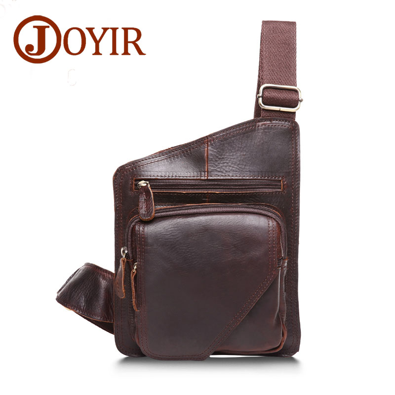 JOYIR Genuine Leather Men Bag Messenger Bag Vintage Flap Men Chest Pack Bag Single Shoulder Bags for Men Bolsas Male Handbags joyir genuine leather chest bag for men crossbody chest pack solid flap leather bags mens shoulder bags small messenger bag new