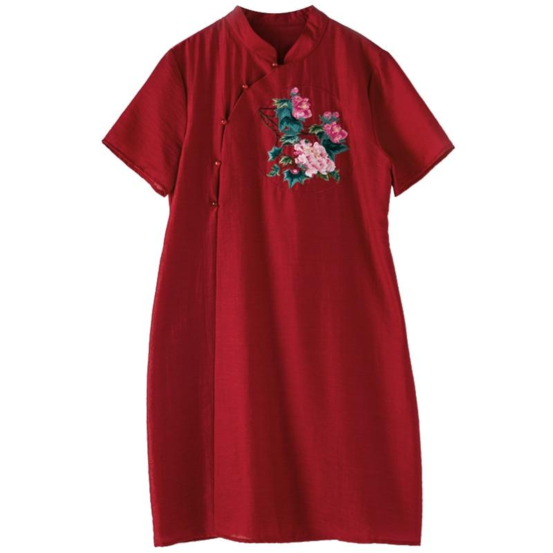 Bikinis Broderies Tenue S Haut Fête Grande Qipao De Jeune Gamme Printemps bourgogne Avec Floral Élégant Blanc Taille Robe Style Chinois Modèles 3xl Femmes g7wTgq8
