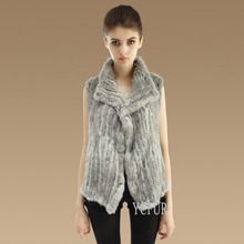 Women Fur Vests Handmade Knitted Natural Rabbit Fur Winter Fur Gilet Female YC1033