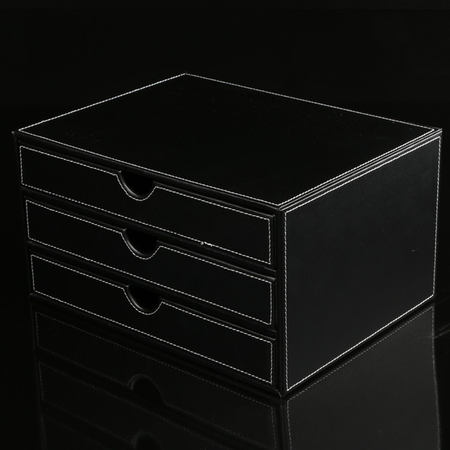 Desktop file cabinet triple butted frame A4 documents grade leather ...