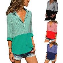 S-5XL women turn-down collar long sleeve shirt t shirt patchwork striped shirt holidya casual leisure tops t shirt plus size все цены