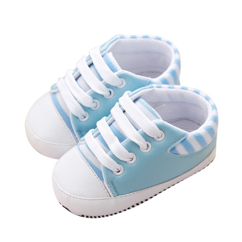 Spring Cute New Infant Toddler Baby PU Striped Sneakers Boys Girls Soft Sole Crib Non-slip Shoes 0-18M