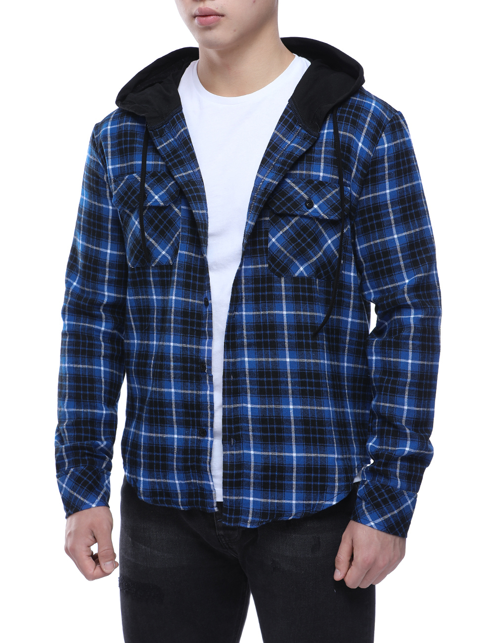 Men's Cotton Casual Plaid Shirts Pocket Long Sleeve Slim Fit Comfortable Hooded Shirt Leisure Styles Tops Shirt