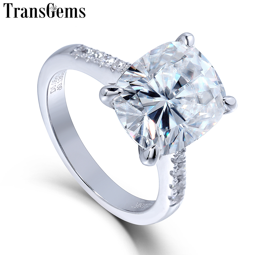 Transgems Big Stone 14K 585 White Gold 5ct Carat 9X11 Cushion Cut FG Color Moissanite Engagement Ring For Women Wedding Gift